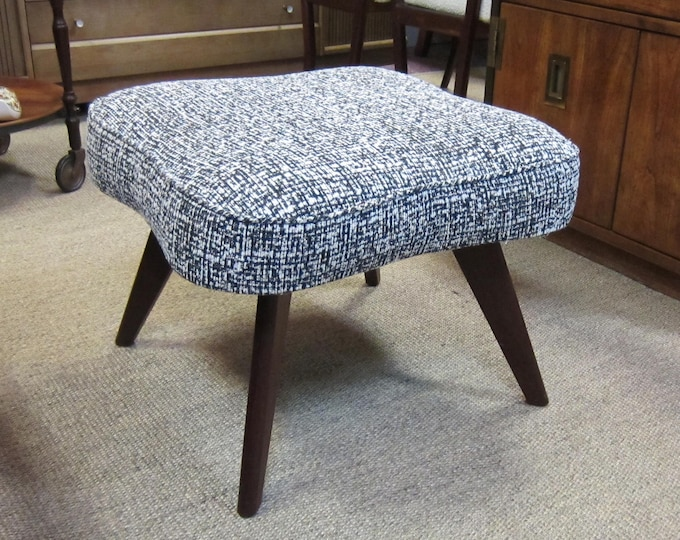 Newly Reupholstered Mid-Century Modern Footstool / Ottoman in Black and Cream Tweed Fabric