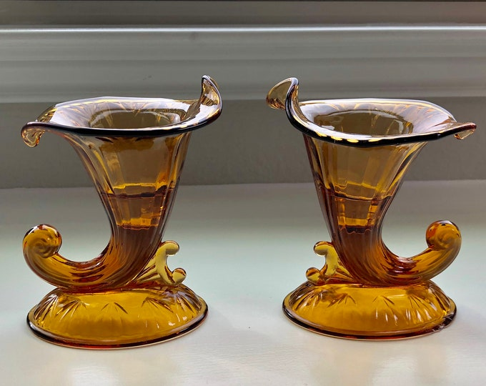 Pair of Art Nouveau Style Fenton Amber Glass Cornucopia Shaped Candle Stick Holders