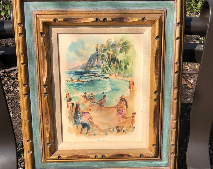 Mid-Century Matson Lines Hawaiian Themed Print Framed Under Glass