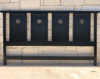 Mid Century Modern Black Lacquered Chinoiserie King Size Headboard with Brass Accents