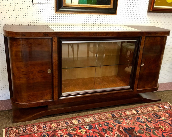 SOLD - French 1930s Art Deco Rosewood Sideboard Bar with Glass Sliding Door Display Cabinet