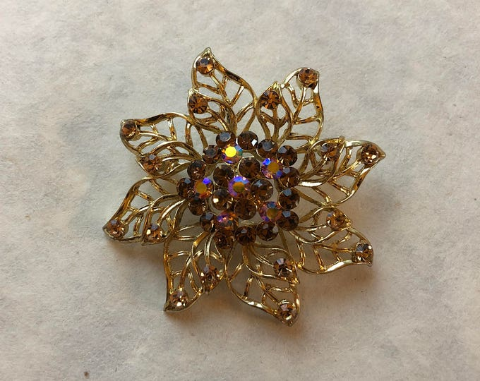 Vintage Gold Flower Brooch / Pendant with Topaz and Aurora Borealis Crystals