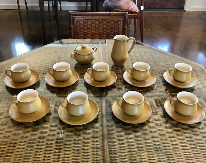 Denby England Gold and Bone Stoneware Coffee / Tea Set