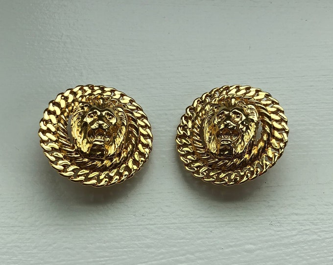 Pair of Anne Klein Lion Motif Gold Toned Clip-On Earrings