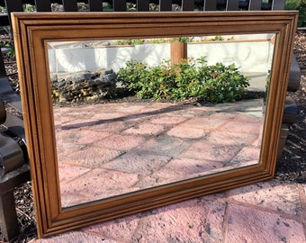 Mid-Century Gilded Faux Bamboo Framed Beveled Rectangular Wall Mirror