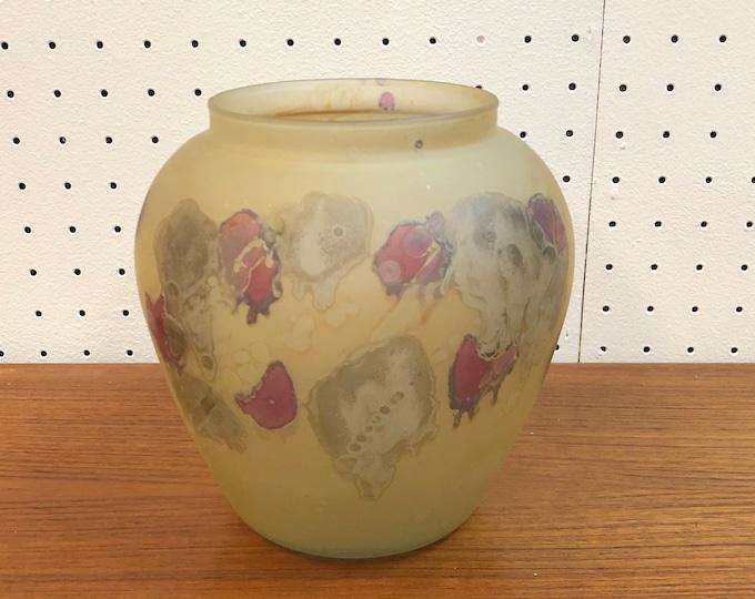 Vintage Modernist Hand Painted Art Glass Vase by BZT.LDT Isreal