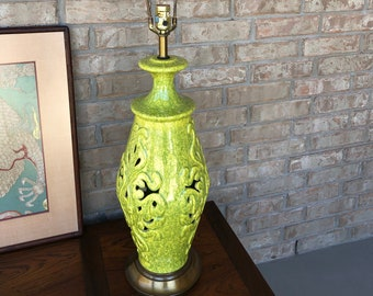 Chartreuse Pierced Ceramic Chinoiserie / Oriental Style Table Lamp