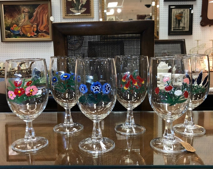 Set of 6 Hand Painted Floral Bouquet Stemmed Wine Glasses