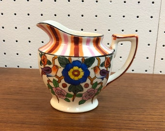 Mid Century Hand Painted Striped, Floral, and Bird Motif Ceramic Creamer