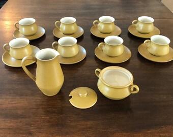 Denby England Gold and Bone Stoneware Coffee / Tea Set