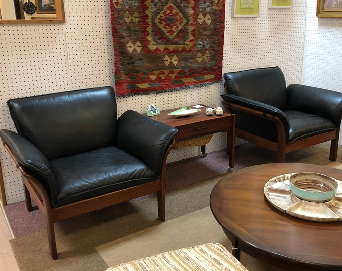 Pair of Mid Century Danish Modern Black Leather and Teakwood Lounge Chairs