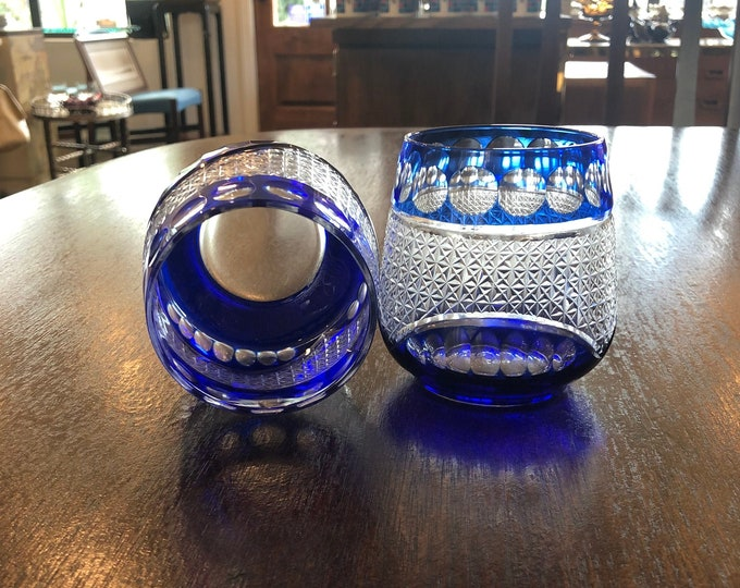 Pair Art Deco Style Royal Blue & Clear Glass Stemless Vintage Wine Glasses