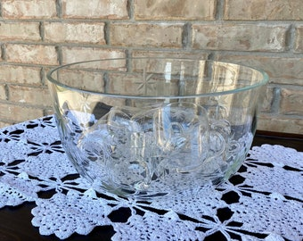 Classic Mid Century Modern Clear Glass Punch Bowl Set, C. 1960s, Etched Atomic Starburst Details