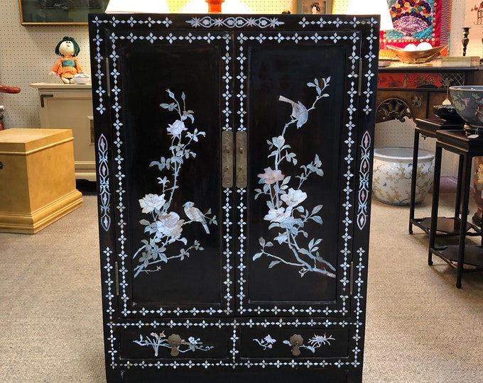 Small Lacquered Chinoiserie Cabinet with Inlaid Mother of Pearl, Birds and Florals, Geometric Designs