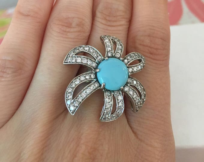 Vintage Aqua-Blue & Rhinestone Floral 925 Sterling Silver Ring Size 6