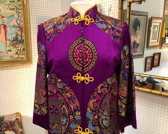 SOLD - Vintage Plum and Marigold Kimono with Dragon and Geometric Designs