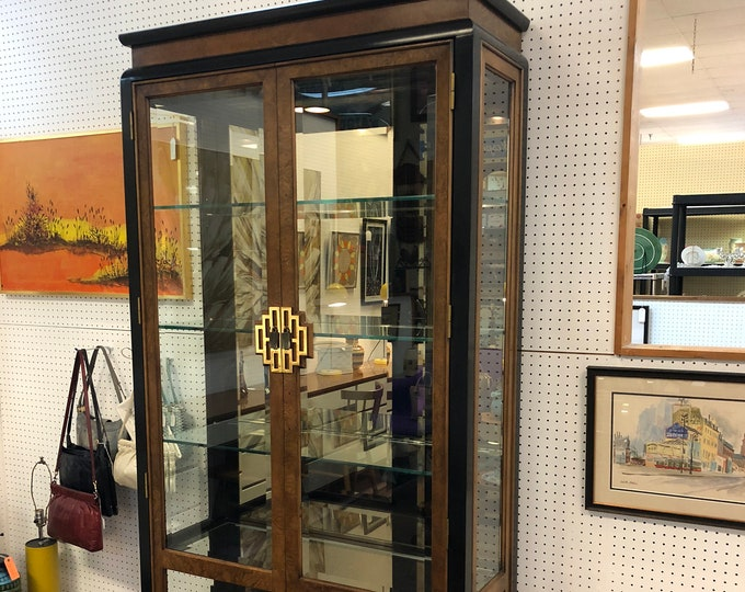 """SOLD - Mid-Century Century Furniture Company """"Chin Hua"""" Tall Wood & Beveled Glass Display Case or China Cabinet"""