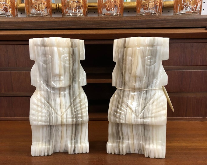 Pair of Large Heavy Marble Tiki Style Mid Century Bookends