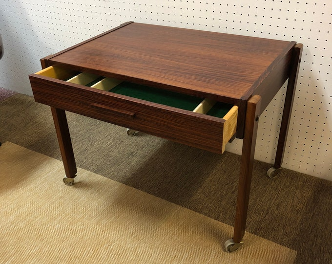 Mid Century Modern Danish Rosewood Rolling Sewing Box / Caddy / Table