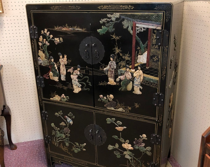 Black Lacquered Oriental Cabinet with Figural and Landscape Decorations, Stone Inlay, Gilt Geometric Designs