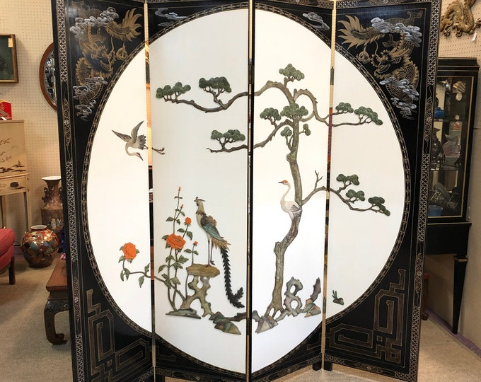 Oriental Folding Screen Room Divider in Black and White with Birds, Florals, Trees, Dragons, and Geometric Designs