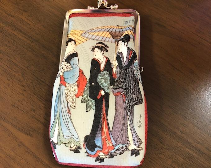 Vintage Geisha Motif Japanese Rice Paper Cigarette Case / Wallet by Zemliya, New Old Stock