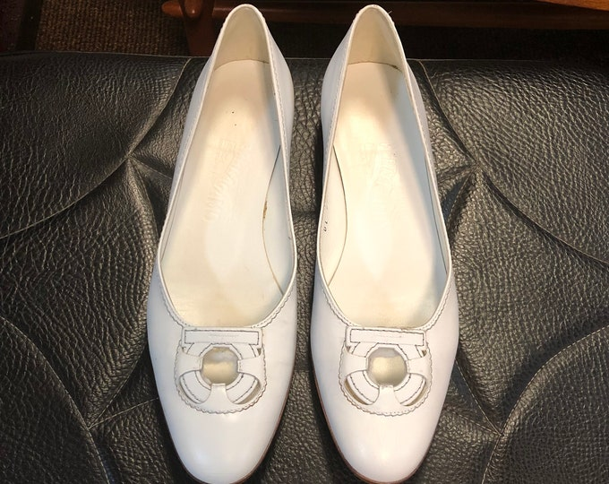 SOLD - Vintage Pair Salvatore Ferragamo White Leather Flats Size 7 1/2 Narrow