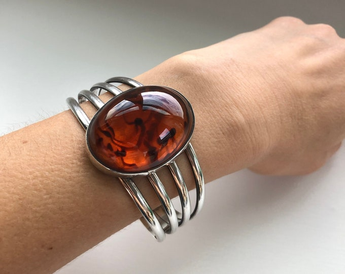 Sterling Silver and Large Amber Stone Cuff Bracelet
