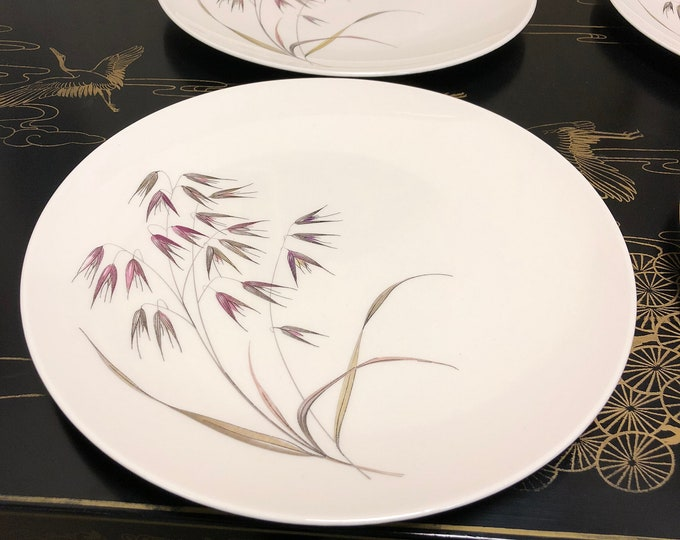"1950s Mid Century ""Wild Oats"" Ceramic Dinner Plates by Knowles"