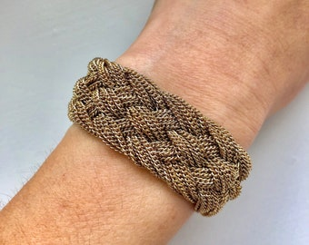 Wide Woven Gold-Tone Braided Mesh Bracelet