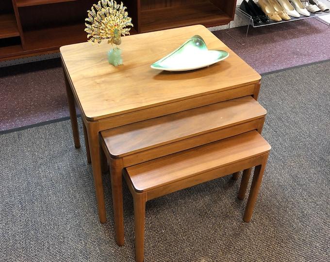 Set of Mid Century Modern Drexel Declaration Walnut Nesting Tables, Kipp Stewart & Stewart McDougall