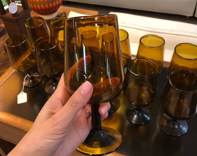 Set of 12 Vintage Mid Century Handblown Amber Stemmed Glasses
