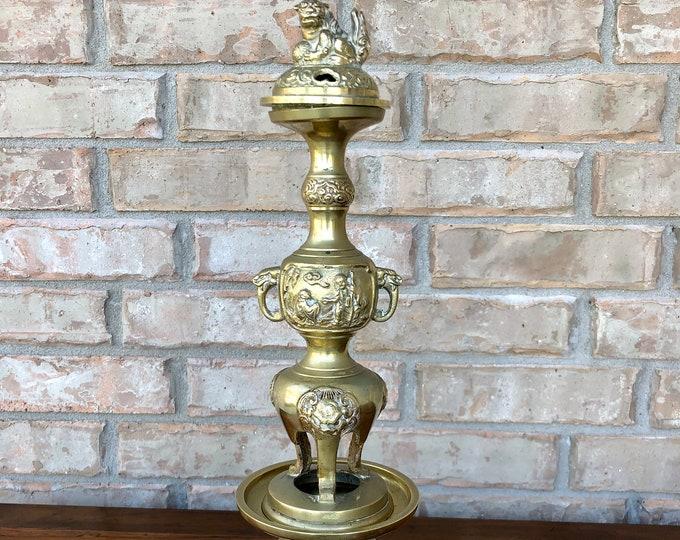 Vintage Chinese Brass 3-Piece Incense Burner / Holder with Foo Dog Topper