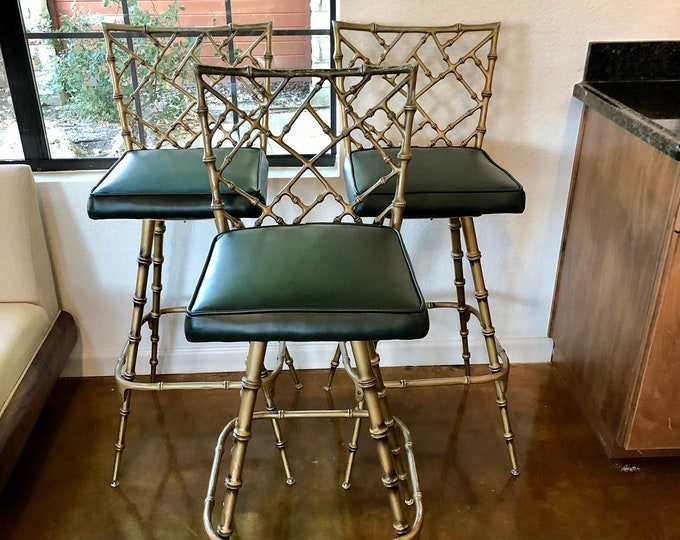 Set of Three Hollywood Regency Style Faux Bamboo Metal Barstools, Swivel Feature, New Dark Green Vinyl Seat Upholstery