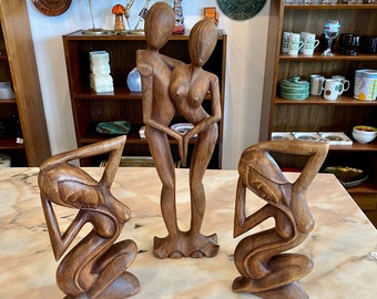 Choice of 3 Carved Balinese Wood Nude Sculptures