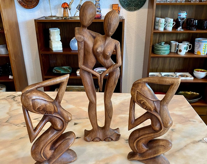 Featured listing image: Choice of 3 Carved Balinese Wood Nude Sculptures