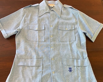 Vintage New Old Stock with Tags  Men's XL Hawaiian Light Blue Button-Up Shirt
