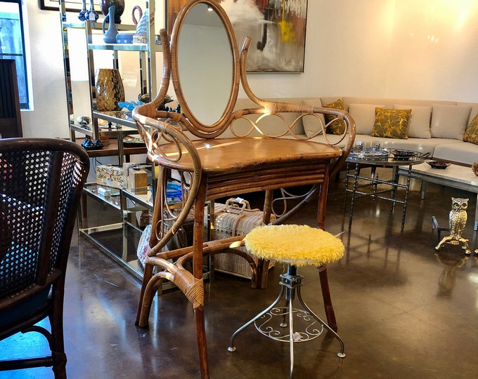 Mid-Century Bentwood Faux Bamboo Vanity Table with Mirror