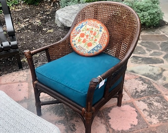 Mid Century Rattan and Cane Chair with Ottoman, Both Newly Reupholstered