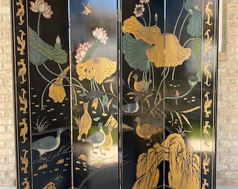 Chinoiserie 4-Panel Folding Screen Room Divider, Painted in Vibrant Florals and Serene Nature Scene to Back Side, Birds, Water Landscapes