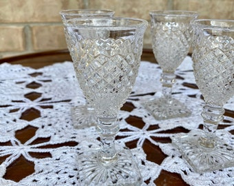 "Set of Four Mid-Century, 1950s-60s Clear Glass Cordials with Square Base and Diamond Cut Accents, 4 1/2""h"