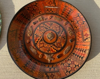 Vintage Hand Painted  Clay Hanging Plate, Aztec, Mayan, American Indian Sun Calendar, Southwestern Style, Copper Accents