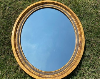 Mid Century Hollywood Regency Style, La Barge Oval Gold Speckled Mirror