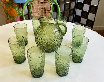 Anchor Hocking Milano Green Mid-Century 96 oz Pitcher and Eight 12 oz Drinking Glasses / Tumblers