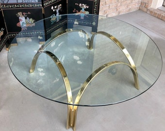 Hollywood Regency Style Modern Round Glass Top Coffee Table with Gold Metal Base, C. 1970s, Late Mid 20th Century