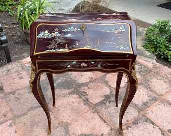 Small Chinese Lacquered Slant Front Lockable Writing Desk with Landscape Scenes