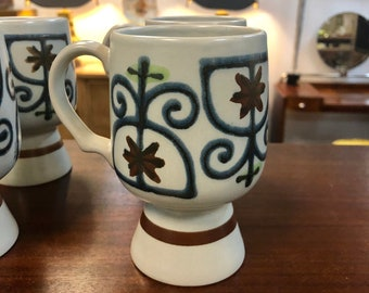 Set of Six Mid Century Hand Painted Pedestal Pottery Mugs