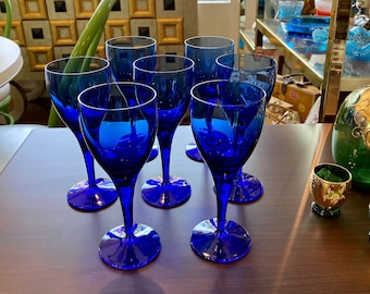 Set of 7 Mid-Century Cobalt Blue Glass Stemware / Wine Glasses