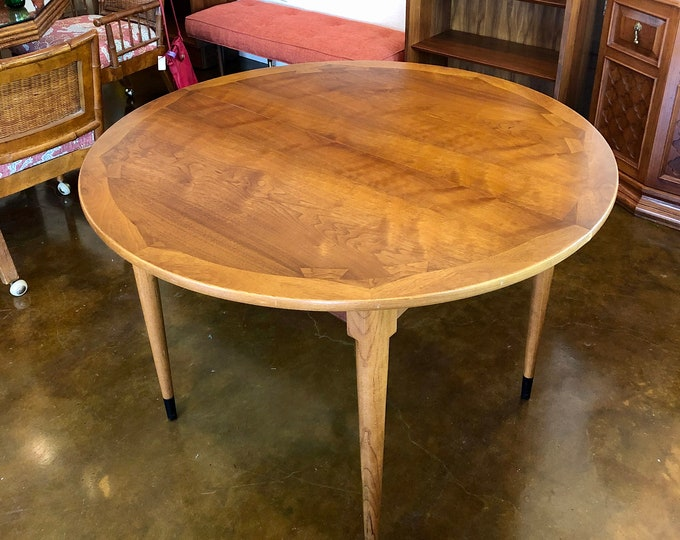 "Small Mid Century Modern Lane Acclaim Walnut Dining Table with Leaf, 42"" Round, 54"" Oval"
