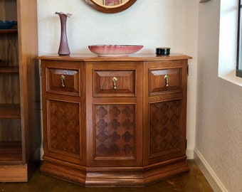 Small Mid Century Modern Solid Oak Entryway Console Cabinet / Hall Table, Clover Cut-Out Details